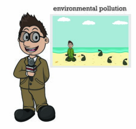 news anchor brings news about beach pollution Ilustração