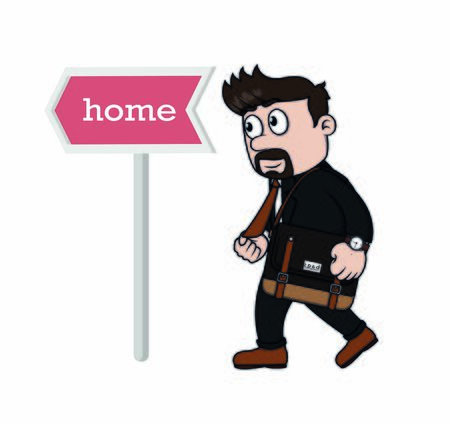 businessman happy when get home early Stock Illustratie