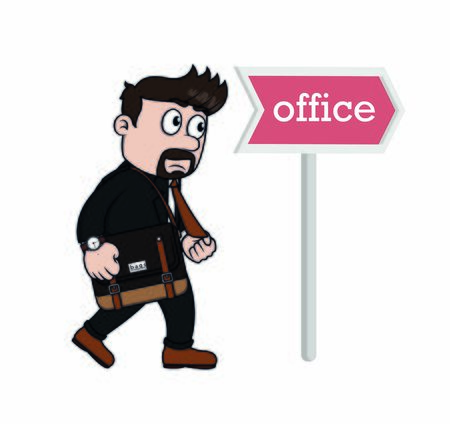businessman in a hurry when go to office Illustration