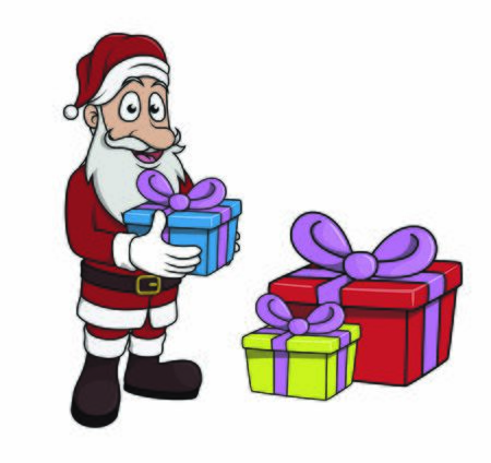 santaclause holding gift and big gift