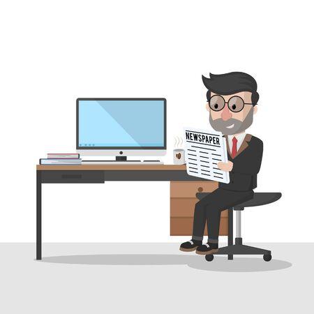 homme d'affaires se détendre et lire le journal