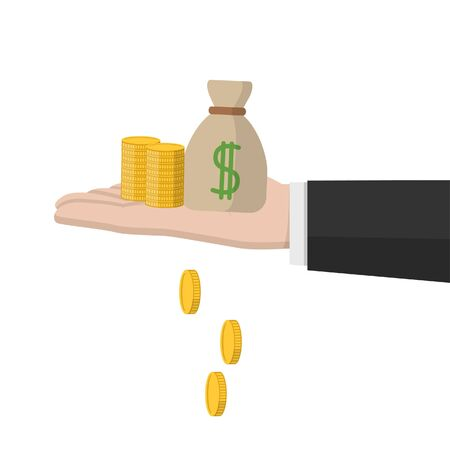 hand holding stacks of coin and money bag Stok Fotoğraf - 131817323