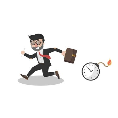 running because scared of time bomb Ilustracja