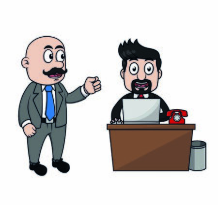Businessman are happy because the boss gives praise Ilustracja