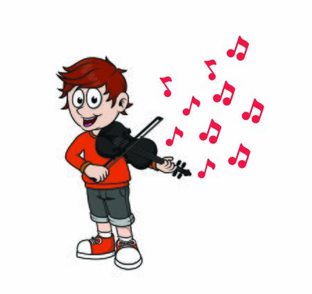 child playing violin with scales