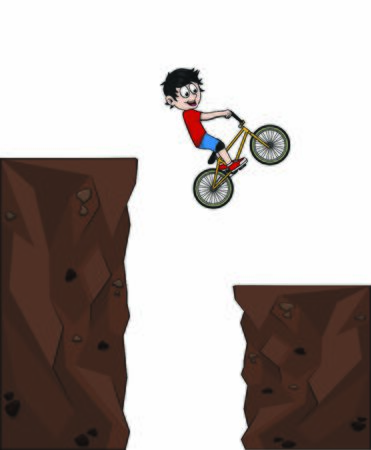 child riding bmx and parkour in climb