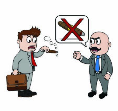 boss reprimands businessman for smoking