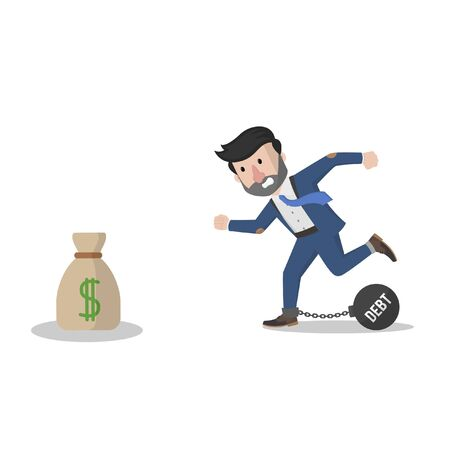 bussinessman with debt chasing money