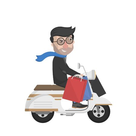 man with shopping with scooter