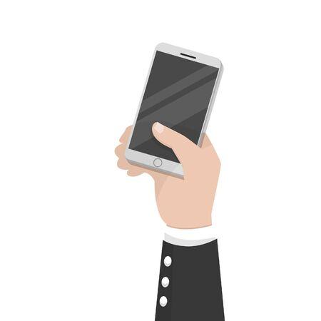 mans hand holding smartphone
