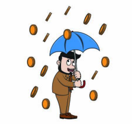 businessman raining pennies vector illustration