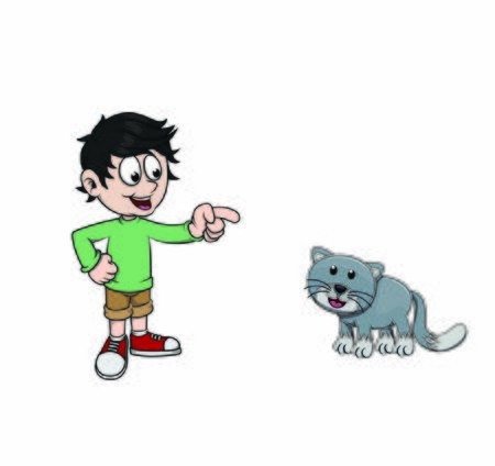 children pointed at cat vector