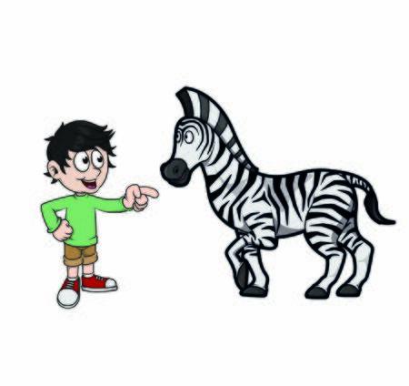 children pointed at zebra vector