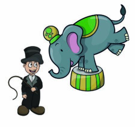 Zirkusartisten und Elefantenattraktionen
