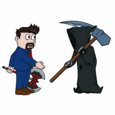 businessman work together with grim reaperf Ilustrace
