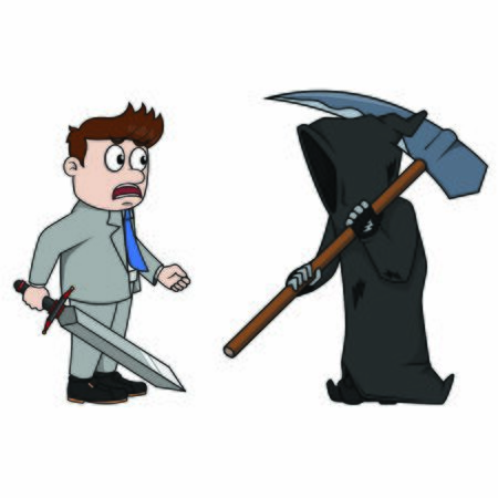 Businessmen are scared against the grim reaper