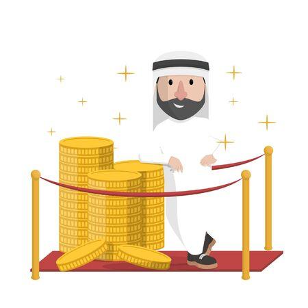 arabian leaning on read carpet Illusztráció
