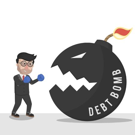 bussinessman fighting a debt bomb