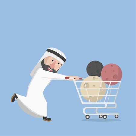 arabian push trolly full of moon Illustration