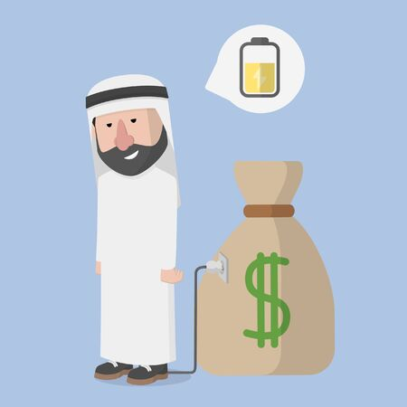 arabian charging with money bag
