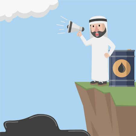 arabian shouting and spilled oil