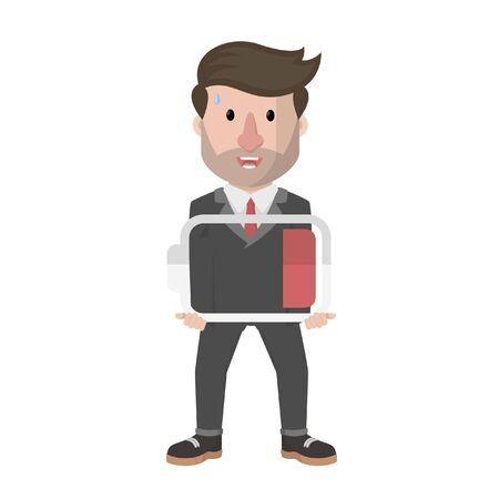 biznesmen niosący słabą baterię Ilustracje wektorowe