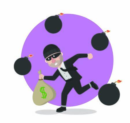 businessman thief stole money with rain bom