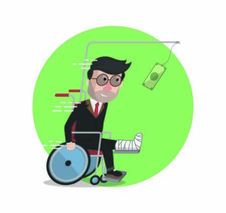 businessman broken leg chasing money