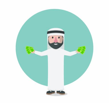 businessman arabian holding money design illustration Иллюстрация