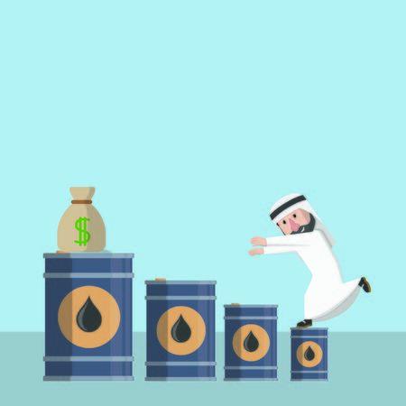 businessman arabian on oil chart