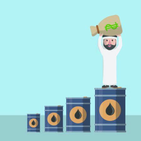 businessman arabian money chart oil Illustration