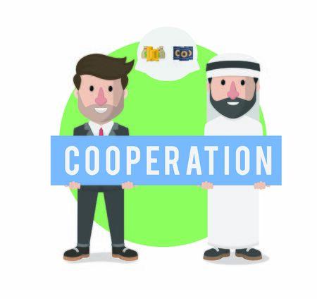 businessman arabian and entrepreneur cooperation Çizim
