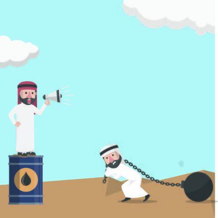 businessman arabian hard work to get oil