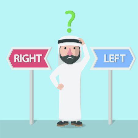 businessman arabian confused to choice Ilustração