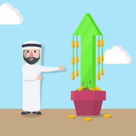 businessman arabian happy profit progress up