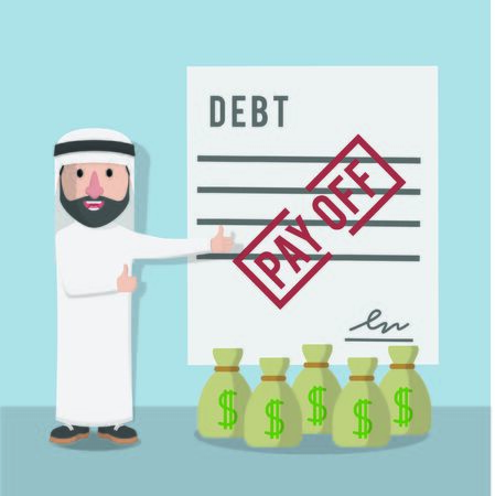 businessman arabian pay off debt