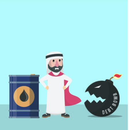 businessman arabian protect oil from debt