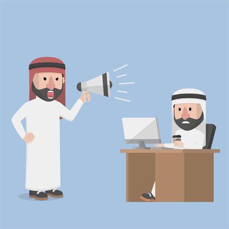 arabian bussinessman got yelled because drinking coffee