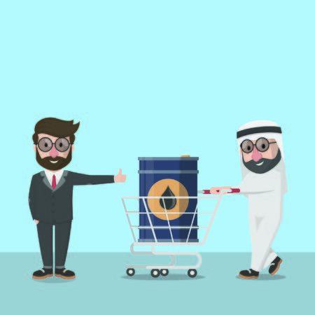 businessman arabian pick up the oil tank