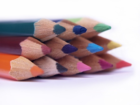 sharpened: macro photo of sharpened colored pencils.