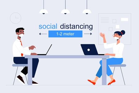 Social distancing at office workplace. Employees are maintain distance during work at workplace. Safety awareness of covid-19 virus. Vector illustration of  イラスト・ベクター素材