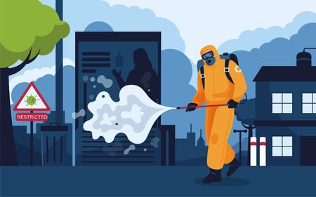 Vector illustration of a human being in personal protective equipment, being sprayed, cleaned and killed by a corona virus.