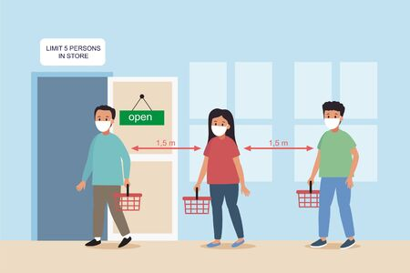Maximum five people allowed in the shop lift or elevator store at one time signage, sign for shops to protect from Coronavirus or Covid-19 vector graphic. Social distancing  イラスト・ベクター素材