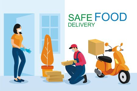 Safe food delivery. Young courier delivering grocery order to the home of customer girl with mask and gloves during the coronavirus pandemic. Cartoon vector illustration.