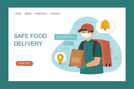 Safe food delivery service concept. Courier bring grocery products bag. Delivery to door. Online order during quarantine. Vector web page banner illustration. Illustration