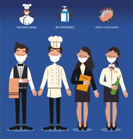 COVID-19 Safety food concept. Waiter and waitress face mask ,holding tray of fast foods. Idea for safety fast food during COVID-19 outbreak, quarantine and prevention. Ilustracja