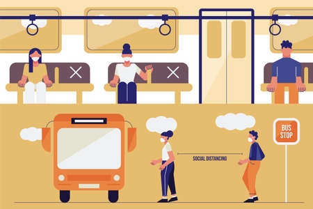 Social distancing concept with people wearing medical masks at the bus stop. keep spaces between each chairs make separate for social distancing,avoid spreading illness of COVID-19 Ilustracja