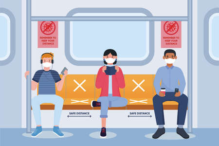 Social distancing in public transport. People in subway, male and female characters with protective masks on faces. Humans sitting in metro. Coronavirus pandemic.