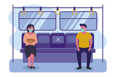 Social distancing in public transport. People in the subway, male and female characters with protective masks on faces. Humans sitting and standing in metro. Covid-19 pandemic. Ilustracja