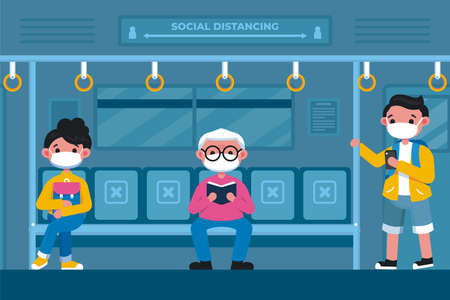 People make social distancing at train during covid-19. New normal lifestyle in daily after Coronavirus outbreak. Ilustracja